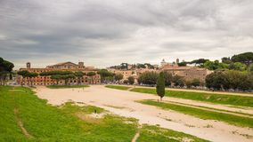 Panorama of Rome from Circo Massimo, Italy Royalty Free Stock Images