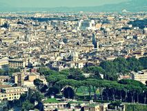 Panorama of rome. City panorama of Rome in Italy from St. Peter's Basilica Royalty Free Stock Photos