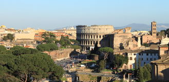 Panorama of Rome with Colosseum Stock Photography