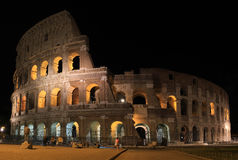 Panorama of Rome Colosseum by night Royalty Free Stock Photos