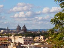 Roman churches of Saint Carlo and Andrea. Panorama of Rome with domes of Saint Carlo of Catinari and Saint Andrea della Valle Royalty Free Stock Image