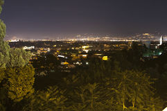 Panorama of Rome at night from Gianicolo. Italy Stock Images
