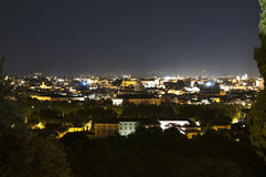Panorama of Rome at night from Gianicolo Royalty Free Stock Image
