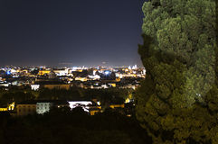 Panorama of Rome at night from Gianicolo Stock Image
