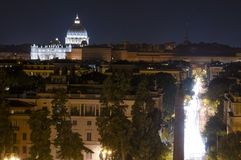 Panorama of Rome at night from Pincio Stock Photo