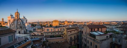 Panorama of Rome from the roof of the building-beautiful historical sights of the city center in the morning stock photo