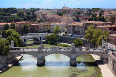 Panorama of Rome from Sant' Angelo Castel Stock Photography