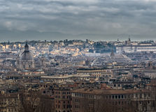 Panorama of Rome with skyline of Pantheon Stock Images