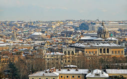 Rome under snow at sunset Royalty Free Stock Image