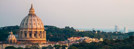 Panorama Of Rome St. Peter`s Basilica and Green Landscape Stock Photos