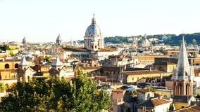 Panorama Rome san carlo al corso dome roof stock video
