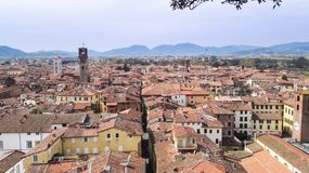 Pisa city from the top. Panorama on the roofs of houses of Pisa from Saint Nicholas tower in Tuscany Stock Image