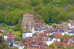 Panorama of roofs in Old Town in Hastings Stock Image