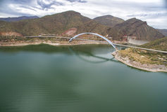 Panorama of Roosevelt lake and bridge, Arizona. Panorama of Roosevelt Lake, bridge and Theodore Roosevelt Dam which are located at Apache trail scenic drive in stock images