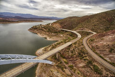 Panorama of Roosevelt lake and bridge, Arizona. Roosevelt Lake and bridge which are located at Apache trail scenic drive in Arizona, close to Phoenix. Picture royalty free stock image