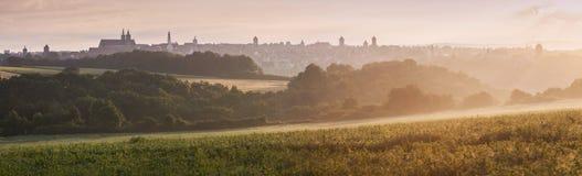 Panorama of Rothenburg at sunrise. In Rothenburg, Bavaria, Germany Stock Photography