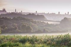 Panorama of Rothenburg at sunrise. Rothenburg, Bavaria, Germany Royalty Free Stock Photos