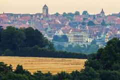 Panorama of Rothenburg at sunrise Stock Image