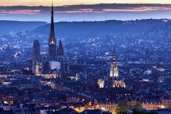 Panorama of Rouen at sunset Royalty Free Stock Photo