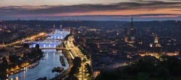 Panorama of Rouen at sunset Royalty Free Stock Image