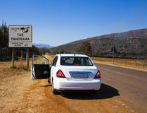Panorama Route, Mpumalanga province, South Africa. White car on scenic Panorama Route, Mpumalanga province, South Africa stock photos