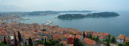 Panorama Rovinj seansu stary grodzki port i Katarina wyspa Obraz Royalty Free