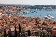 Panorama of Rovinj. The view from the bell tower of the church of St. Euphemia Stock Image