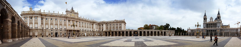 Panorama of Royal Palace of Madrid Stock Photos