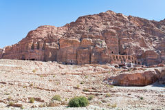 Panorama of Royal Tombs in Petra Stock Photo