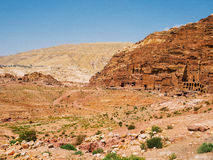 A Panorama of Royal Tombs in Petra Royalty Free Stock Images