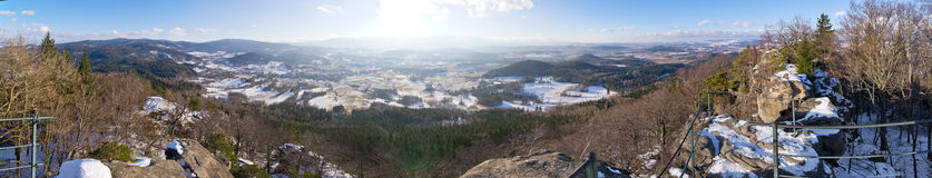 Panorama of Rudawy Janowickie mountains, Poland Stock Images