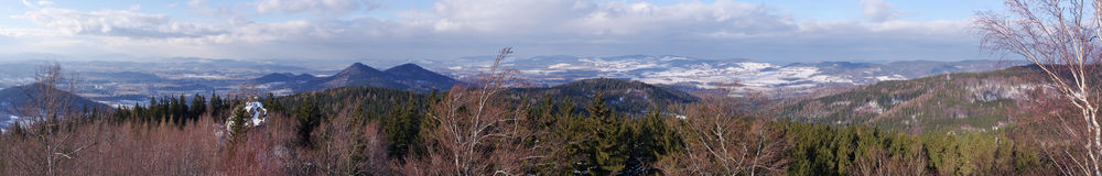 Panorama of Rudawy Janowickie mountains, Poland Royalty Free Stock Image
