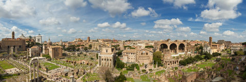 Panorama of the ruin field of the Forum Romanum Royalty Free Stock Photography