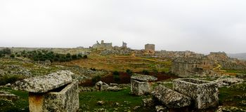 Panorama of ruined abandoned dead city Serjilla in Syria royalty free stock photos
