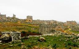 Panorama of ruined abandoned dead city Serjilla in Syria. Panorama of ruined abandoned dead city Serjilla, Syria royalty free stock image