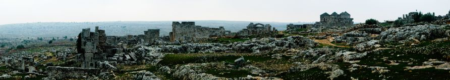 Panorama of ruined abandoned dead city Serjilla in Syria stock image