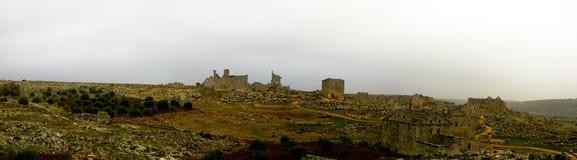 Panorama of ruined abandoned dead city Serjilla in Syria. Panorama of ruined abandoned dead city Serjilla, Syria stock photo