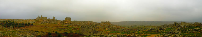 Panorama of ruined abandoned dead city Serjilla,Syria royalty free stock photo