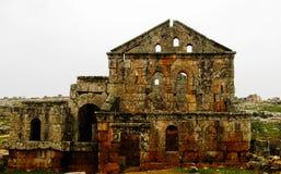 Panorama of ruined abandoned dead city Serjilla in Syria. Panorama of ruined abandoned dead city Serjilla, Syria stock photography