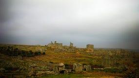 Panorama of ruined abandoned dead city Serjilla in Syria. Panorama of ruined abandoned dead city Serjilla, Syria stock image