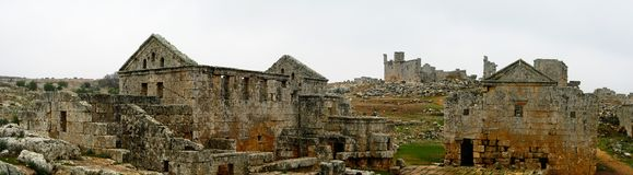 Panorama of ruined abandoned dead city Serjilla in Syria stock images