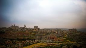 Panorama of ruined abandoned dead city Serjilla in Syria stock photography