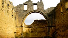 Panorama of ruined Bahira monastery in old city of Bosra, Syria stock image