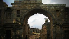 Panorama of ruined old city of Bosra, Syria royalty free stock photos