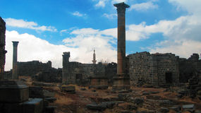 Panorama of ruined old city of Bosra, Syria royalty free stock photography