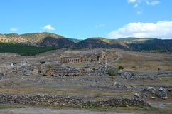 Panorama of the ruins of the ancient city of Hierapolis near Pamukkale, Turkey royalty free stock photography