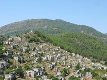 Ruins of ancient dead city kayakoy turkey Royalty Free Stock Images