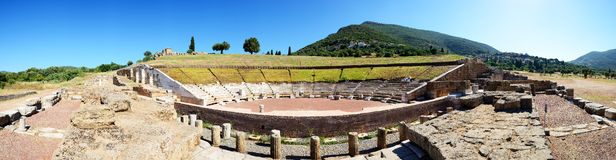 The Panorama of ruins in ancient Messene Royalty Free Stock Photography