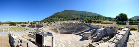 The Panorama of ruins in ancient Messene (Messinia). Peloponnes, Greece Stock Photos