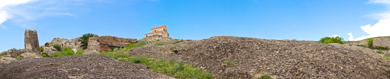 Panorama of ruins of cave-dwelling town Uplistsikh Royalty Free Stock Images
